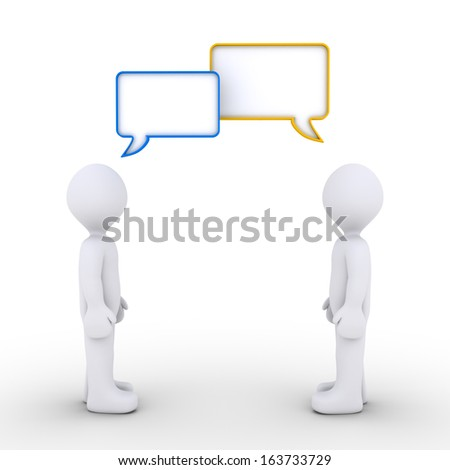 Two 3d persons are talking with speech bubbles - stock photo