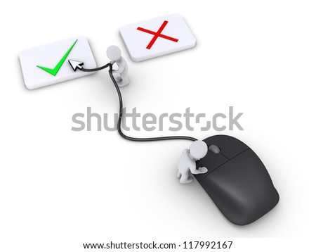Two 3d persons are using mouse to select the right choice