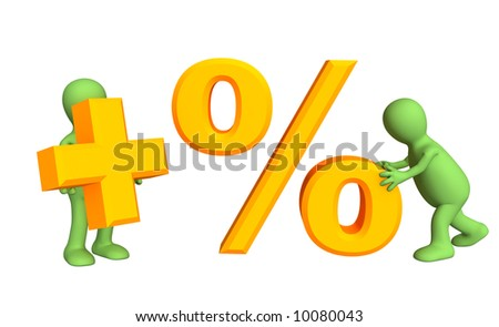 Two 3d persons, holding in hands symbols plus and percent. Objects over white - stock photo
