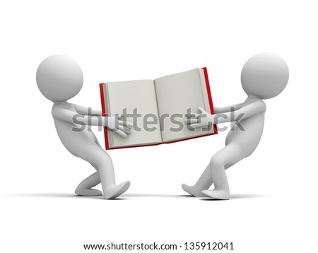 Two 3d persons snatching an opened book