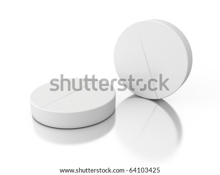 two 3d pills isolated on white background - stock photo