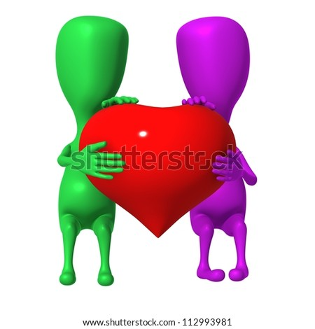 Two 3d puppet share one big heart together - stock photo
