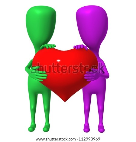 Two 3d puppet share one big red heart - stock photo