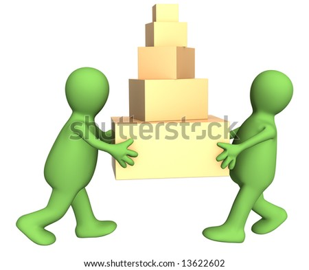 Two 3d puppets carrying five boxes. Object over white - stock photo