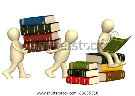 Two 3d puppets with books and loupe - stock photo