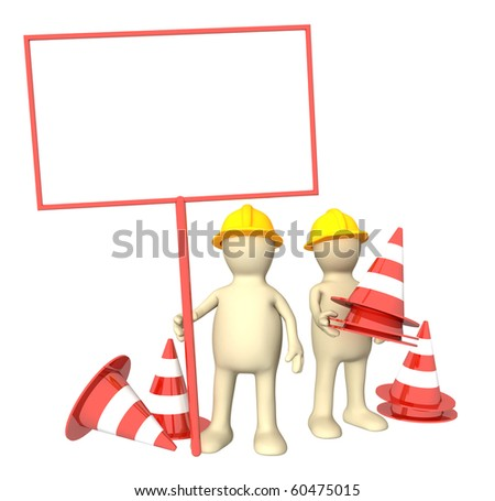 Two 3d puppets with emergency cones - stock photo