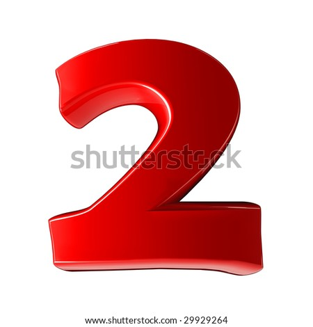 Two - 3d red plastic number - stock photo
