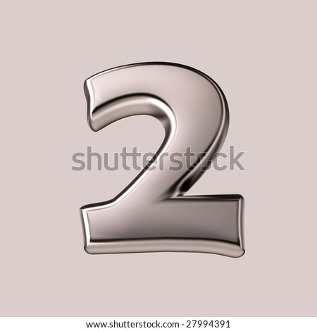 Two - 3d silver number