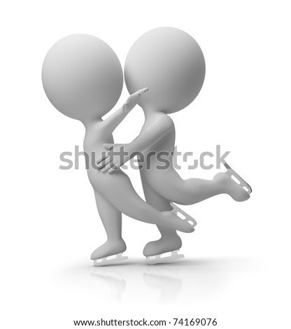 Two 3d small people skating. 3d image. Isolated white background. - stock photo