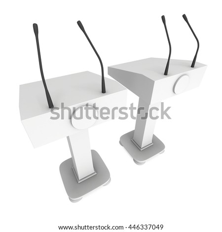 Two 3d Speaker Podiums. White Tribune Rostrum Floor Stands with Microphones. 3d render isolated on white background. Debate, press conference concept - stock photo