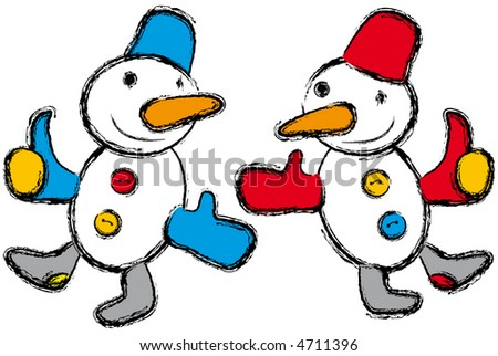 Two dancing snowman - stock photo