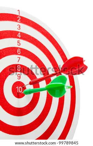 two dart hitting a target, isolated on white - stock photo