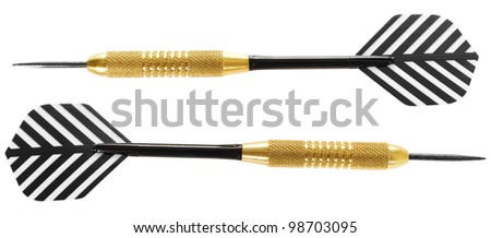 Two darts, isolated on white background.