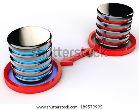 Two Databases exchanging data  - stock photo