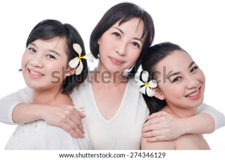 Two Daughter and mother together  - stock photo
