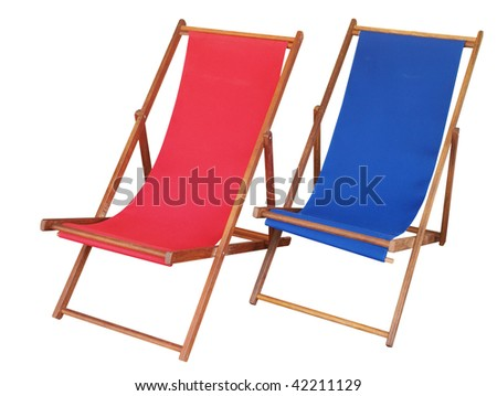 Two Deckchairs isolated with clipping path - stock photo