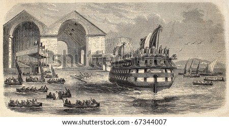 Two decks ship launching: screw vessel La Massena, in Mourillon dock, Toulon. From drawing of Lebreton after sketch of Letuaire, published on L'Illustration, Journal Universel, Paris, 1860