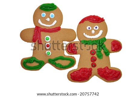 Two decorated gingerbread cookies isolated on white background with clipping path.