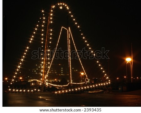 Two decorated Sailing-boats - stock photo