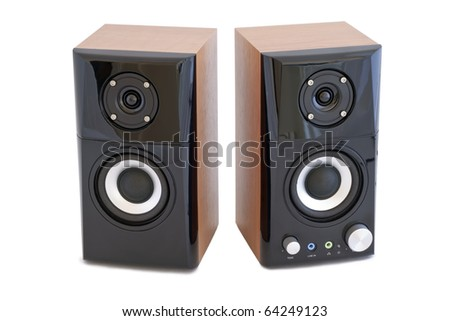 Two decorative speaker isolated on a white background. - stock photo