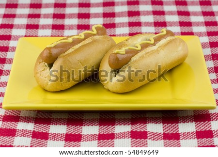 Two delicious hot dogs on a yellow plate. - stock photo