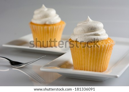 Two Delicious Vanilla Bean Cupcakes on a White Plate - stock photo