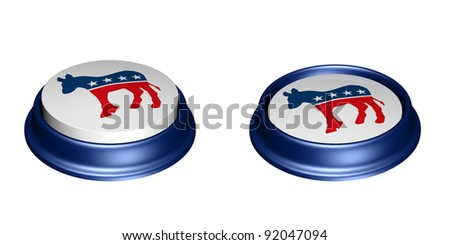 Two Democrat Party Buttons. One in the up position and the other in the depressed position. Vote. Isolated on a white background.