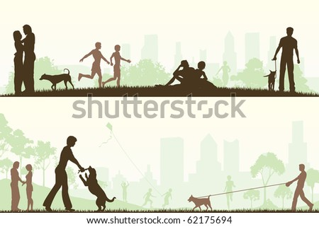 Two designs of people in city parks - stock photo