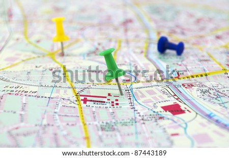 Two destinations on map - stock photo