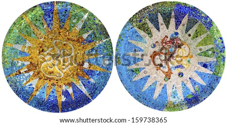 Two detail of mosaic in Guell park in Barcelona  - stock photo