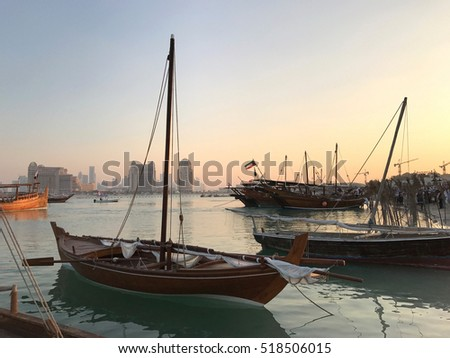 Two dhows in port