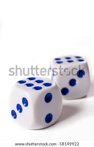 Two dice cubes over white - stock photo
