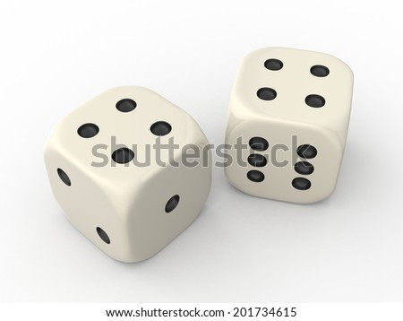 Two Dice Cubes showing Four Points each