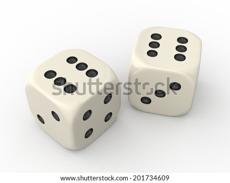Two Dice Cubes showing Six Points each - stock photo