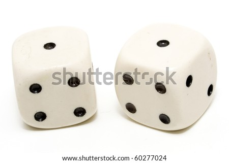 two dice fall in ones - stock photo