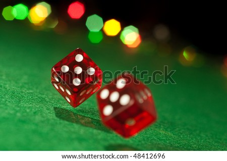 Two dice. focused on left cube - stock photo