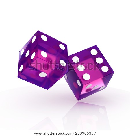 two dice isolated - stock photo