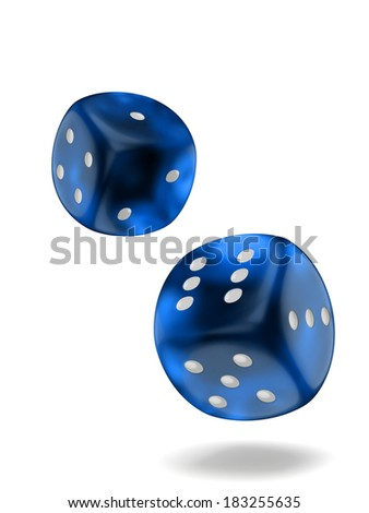 Two dice isolated on white background with clipping path - stock photo