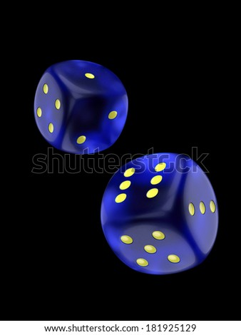 Two dice isolated over black background with clipping path - stock photo