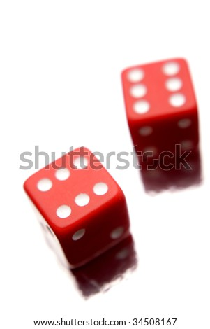 Two dice isolated over white