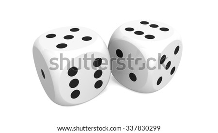 Two dice on a table.
