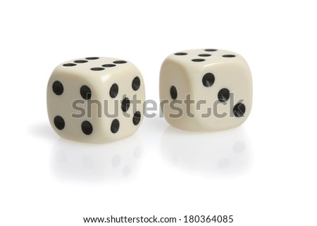 Two dice on white background - stock photo