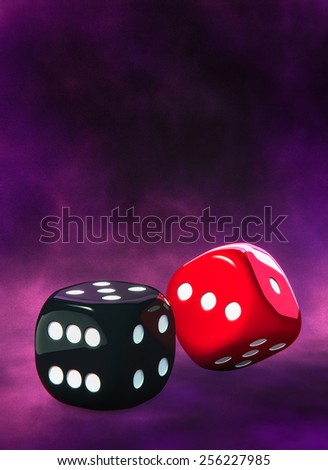 Two dice side by side, violet velvet background. White dots - stock photo