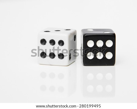 two dice six and six - stock photo
