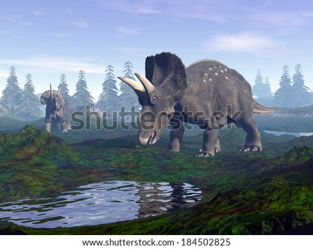 Two diceratops dinosaurs walking to water in the mountain by morning light - stock photo