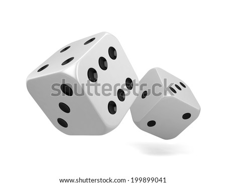 Two dices. 3d illustration isolated on white background
