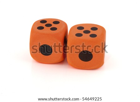Two dices on a white background.