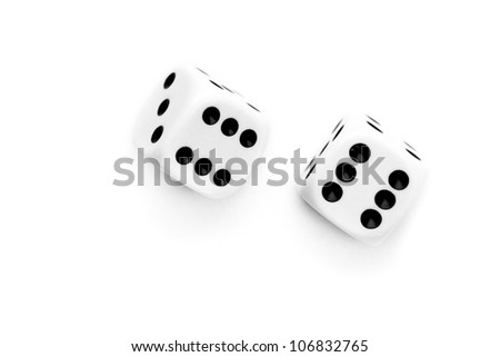 Two dices thrown against a white background - stock photo