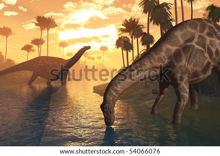 Two Dicraeosaurus dinosaurs in a prehistoric sunrise landscape - 3D render. - stock photo