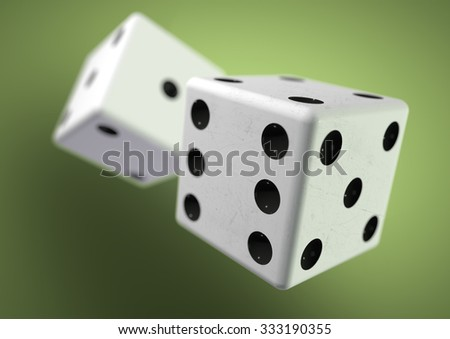 Two die (dice) captured rolling in mid air while being thrown in casino, board game or gambling. Taking a chance on a bet. - stock photo